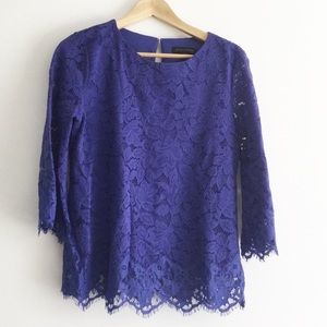 Banana Republic Purple Lace long Sleeve Top Small